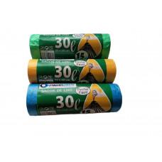 Rolo de Sacos Lixo 55x60cm F/F 30L c/ 15 Un.