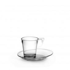 Chávena café com pires Inquebrável tranparente CHA9-T 9cl unid.